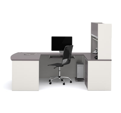 Connexion U-shaped Workstation with Hutch Included in Slate & Sandstone