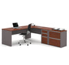 Bordeaux & Slate L-shaped Office Desk with Extra Lateral File