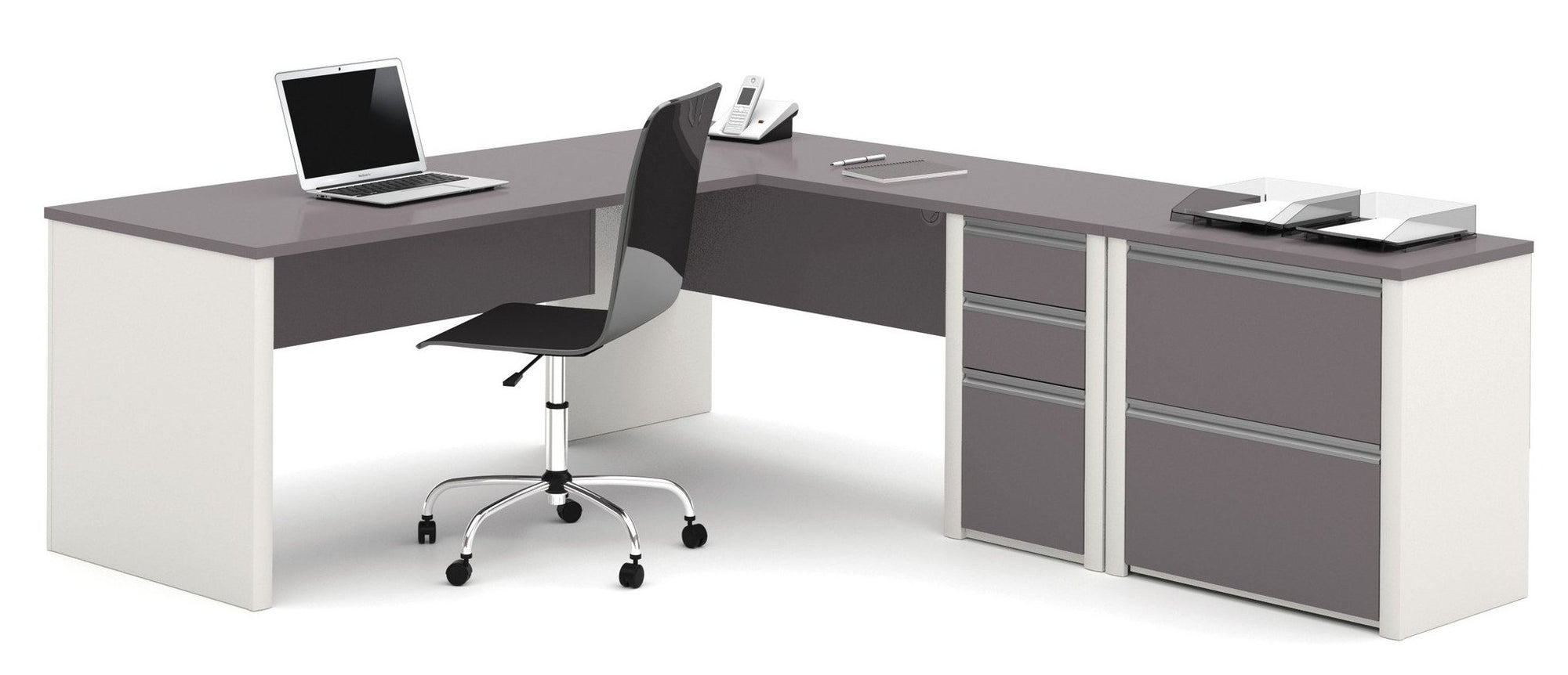 Slate U0026 Sandstone Single Ped L Shaped Office Desk With Included Lateral File