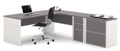 Slate & Sandstone Single Ped L-shaped Office Desk with Included Lateral File