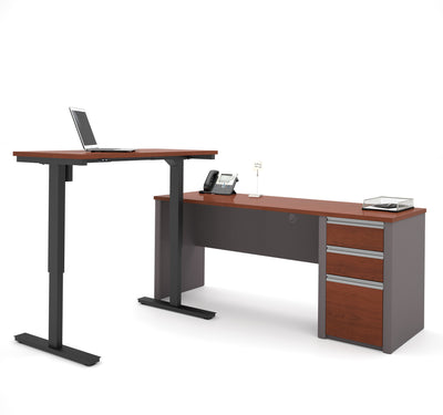 "Bordeaux & Slate 71"" Single Pedestal Desk with Height Adjustable Side"