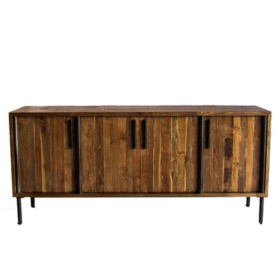 Sophisticated Reclaimed Teak & Iron Storage Credenza