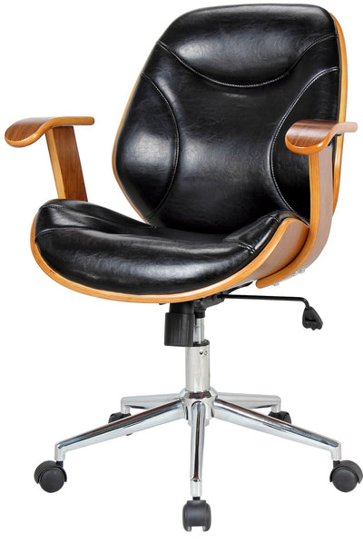 Classic Walnut Veneer and Black Leatherette Office Armchair