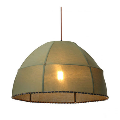 Brown Fabric Office Pendant Lamp w/ Steampunk Aesthetic