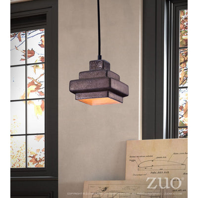 Rustic Antique Black Stepped Hanging Office Pendant Lamp