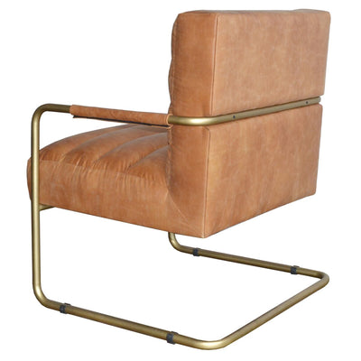 Vintage Cider Padded Guest or Office Chair w/ Gold Frame