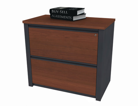 "36"" Modern Bordeaux & Graphite Assembled Lateral File (Ships Fully Assembled)"