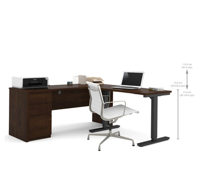 Modern Chocolate Single Pedestal Desk with Included Height Adjustable Desk
