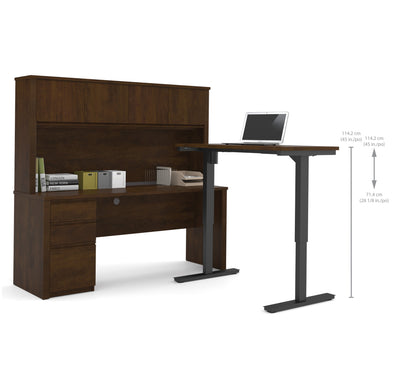 Modern Chocolate Desk & Hutch with Included Height Adjustable Desk