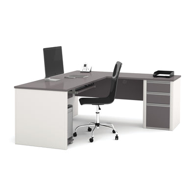 "71"" x 83"" L-Shaped Desk with Drawers in Slate & Sandstone"