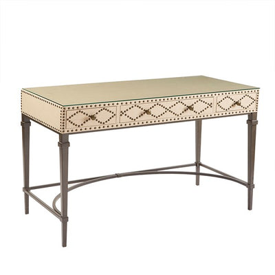 "48"" Elegant Desk with White Finish & Bronze Nail Head Border"