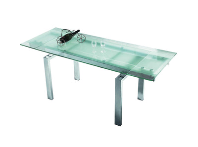 "63-86"" Modern Glass Office Desk or Conference Table with Chrome Legs"