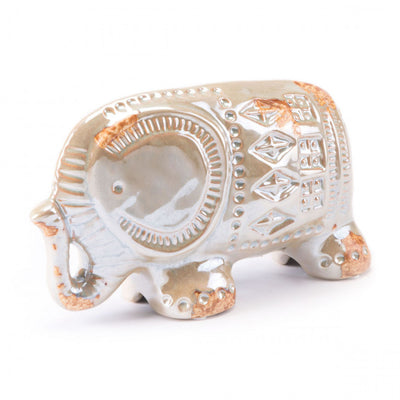 Antique Elephant Sculpture in Distressed Pearl