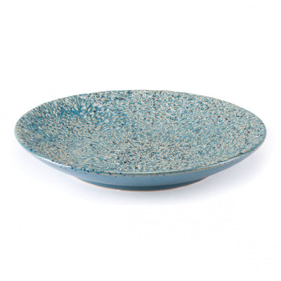 Blue Heavily Textured Shallow Bowl