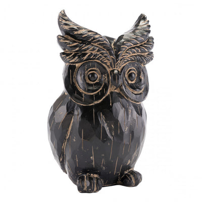 Wise Owl Desktop Sculpture in Black
