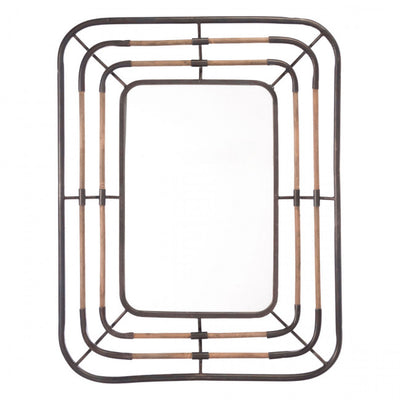 Natural Steel Mirror in Copper & Black