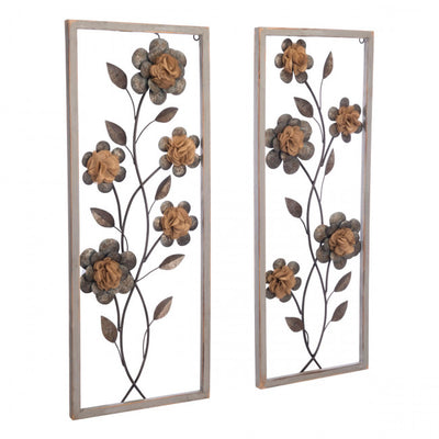Two-Panel Wall Art w/ Floral Design & Antique Finish