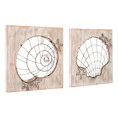 2-Panel Seashell Office Wall Art in Steel & Wood