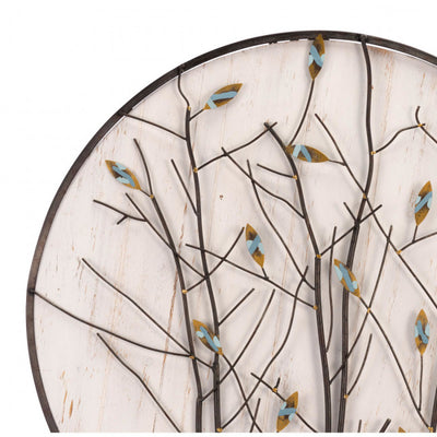 Charming Wooden & Steel Spring Leaf Office Wall Art