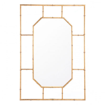 White & Bamboo-Style Gold Rectangular Mirror