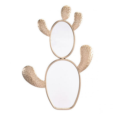 Gold Cactus-Shaped Office Mirror