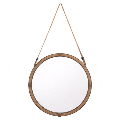 Round Hanging Mirror of Brown Steel
