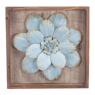 White Star Succulent Wall Art on Wood