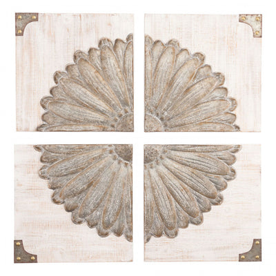 4-Panel Floral Designed Wall Art in Neutral Colors
