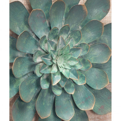 Green Succulent Wall Art on Wood