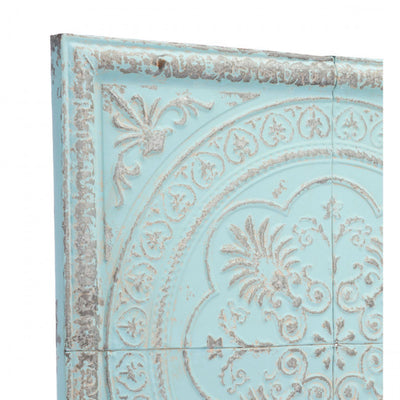 Square Pale Distressed Blue Steel Wall Hanging for the Office