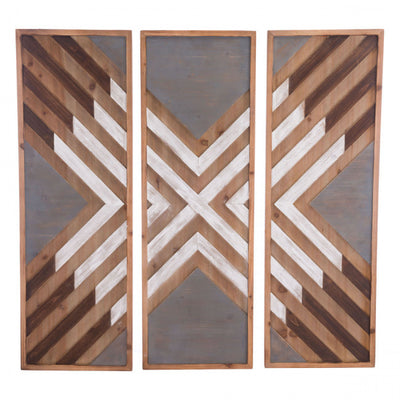 3-Panel Wood Wall Art in Brown & White
