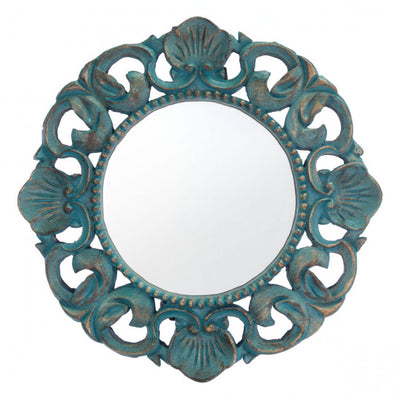 Small Round Vintage Distressed Seagreen Office Mirror