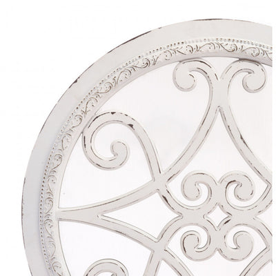 Charming Round Wall Mirror in Distressed White