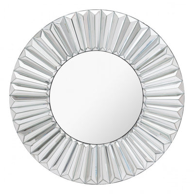Silver Mirror Framed w/ Geometric Radiating Waves