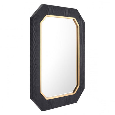 Octagonal Office Mirror w/ Black Faux Snakeskin Frame