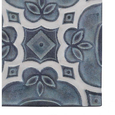 Intricately Painted Set of 4 Tiles Wall Art in Blues & Grays
