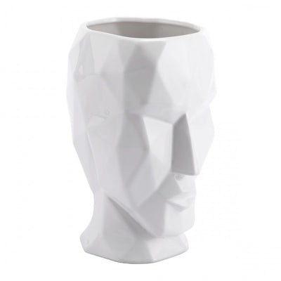 Stunning White Vase Shaped Like A Multi-Faceted Face