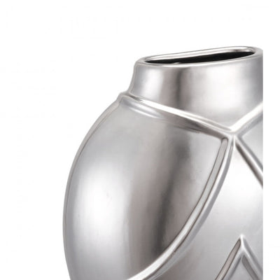 Gorgeous Silver Wall Vase w/ Lined Texture