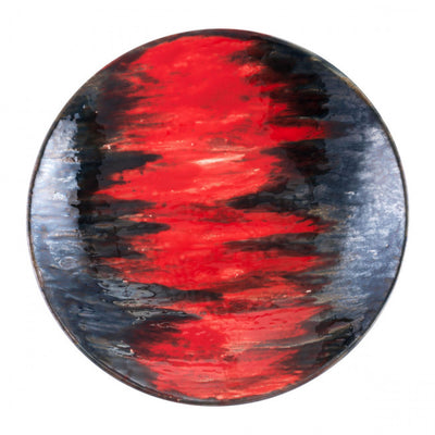 Shallow Black & Red Lava-Style Decorative Plate