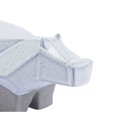 Multi-Faceted Grey & White Hippo Desktop Sculpture