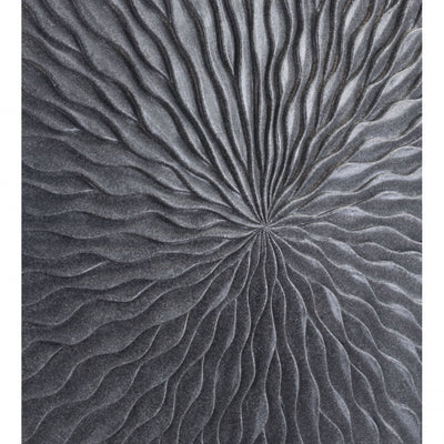 Dark Gray Sandstone Wall Art w/ Wave Design