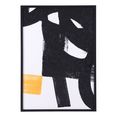 Wall Art w/ Broad Brushstrokes of Black, White & Yellow