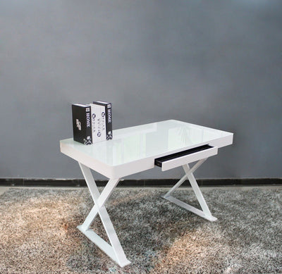 "47"" Compact White Gloss & Steel Office Desk"