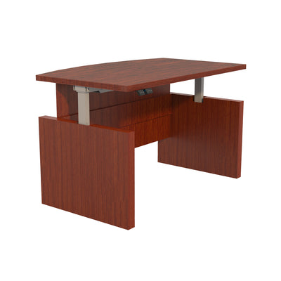"66"" Bow Front Sit or Stand Desk in Cherry"