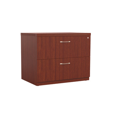 Bow Front L-shaped Desk with Adjustable Height in Cherry
