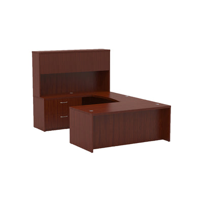 Sleek U-shaped Executive Desk with Built-in Storage and Hutch in Cherry