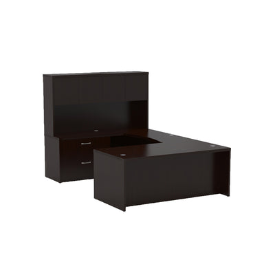 Sleek U-shaped Executive Desk with Built-in Storage and Hutch in Mocha