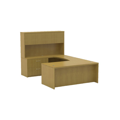 Sleek U-shaped Executive Desk with Built-in Storage and Hutch in Maple