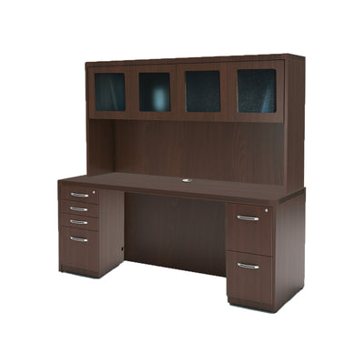 "72"" Desk with Hutch and Double Pedestals in Mocha"