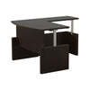 Bow Front L-shaped Desk with Adjustable Height in Mocha